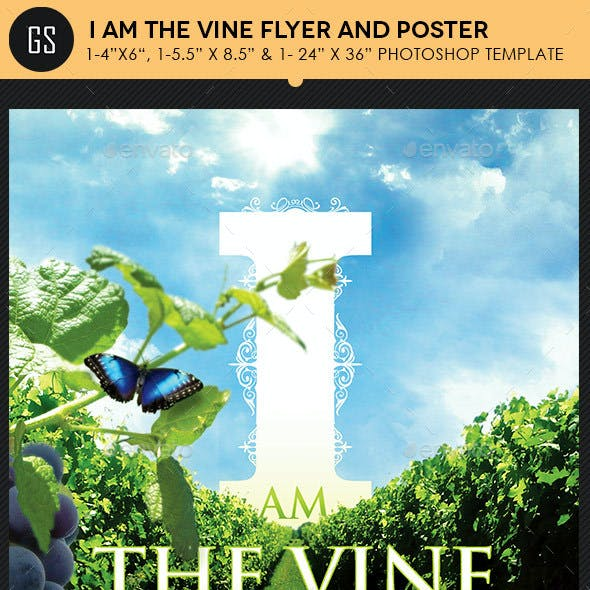 I Am The Vine Church Flyer Poster Template
