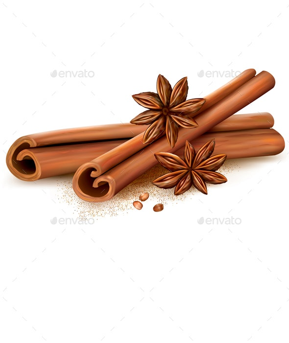 Cinnamon Sticks and Anise Stars - Food Objects