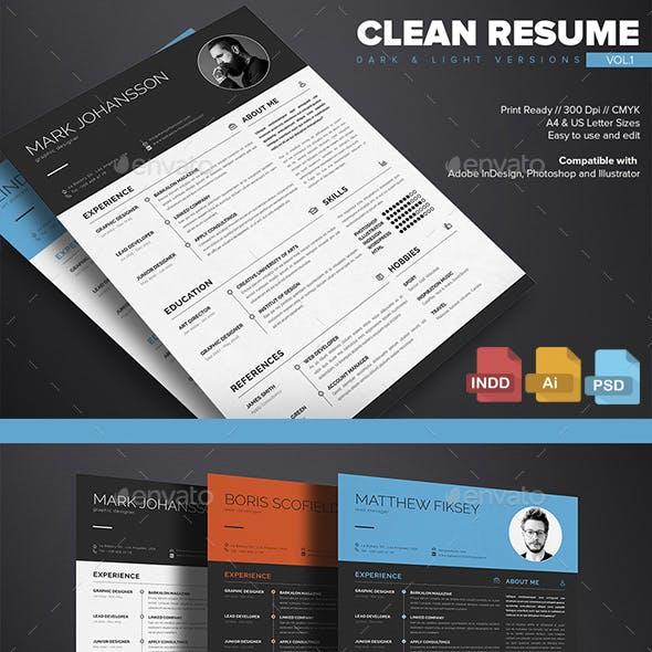 Clean Resume Template Vol.1