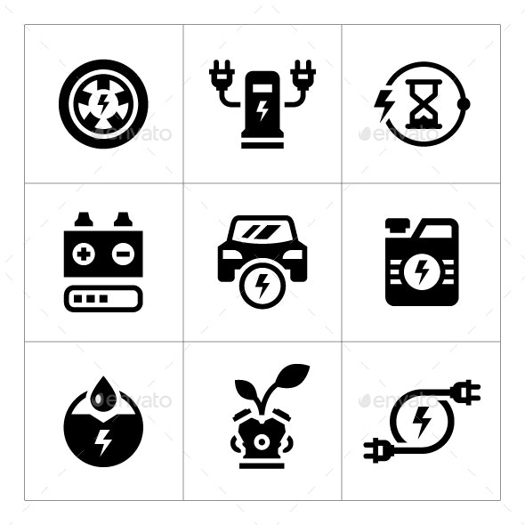 Set Icons of Electric Car - Man-made objects Objects