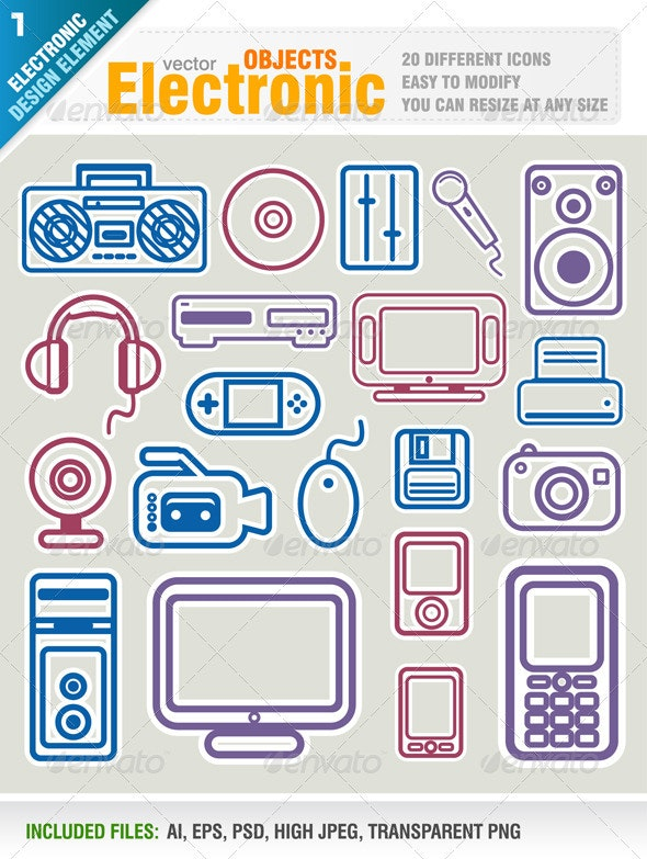 Electronic Object Icons - Technology Conceptual