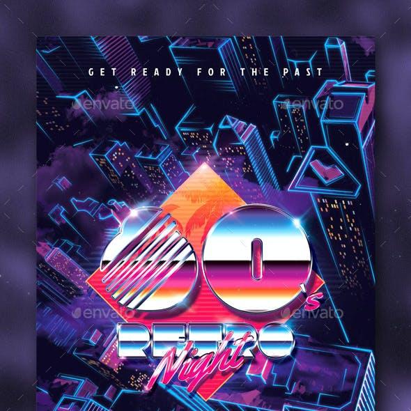 80`s Retro Night Party Flyer