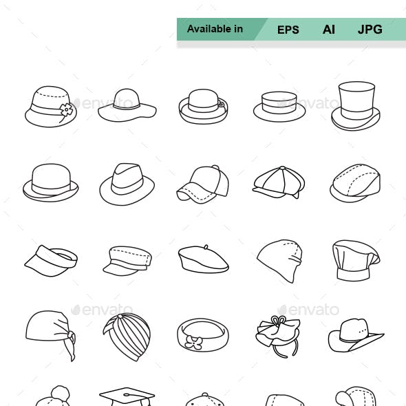 Hats Outlines vector icons