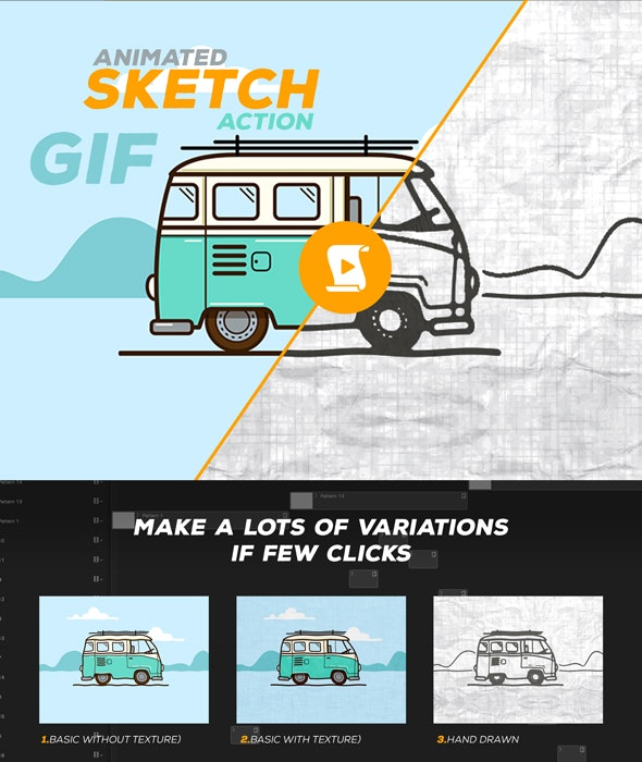 Animated Sketch GIF Action - Actions Photoshop