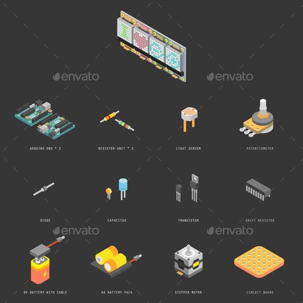 Isometric Vector Arduino Starter Kit