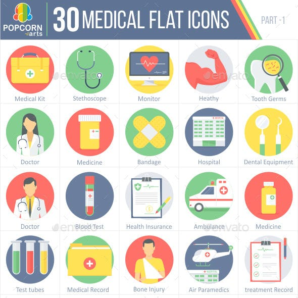 30 Medical Flat Icons part-1