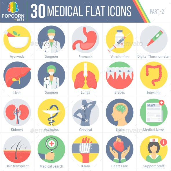 30 Medical Flat Icons part-2