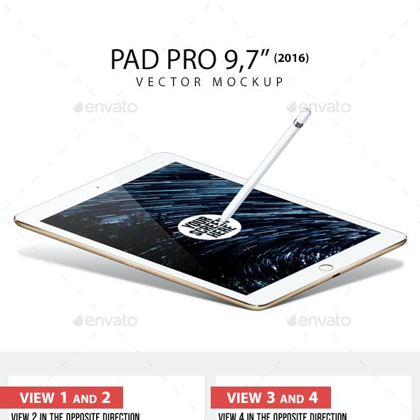 Pad Pro 9.7 inch and Pencil Vector Mockup