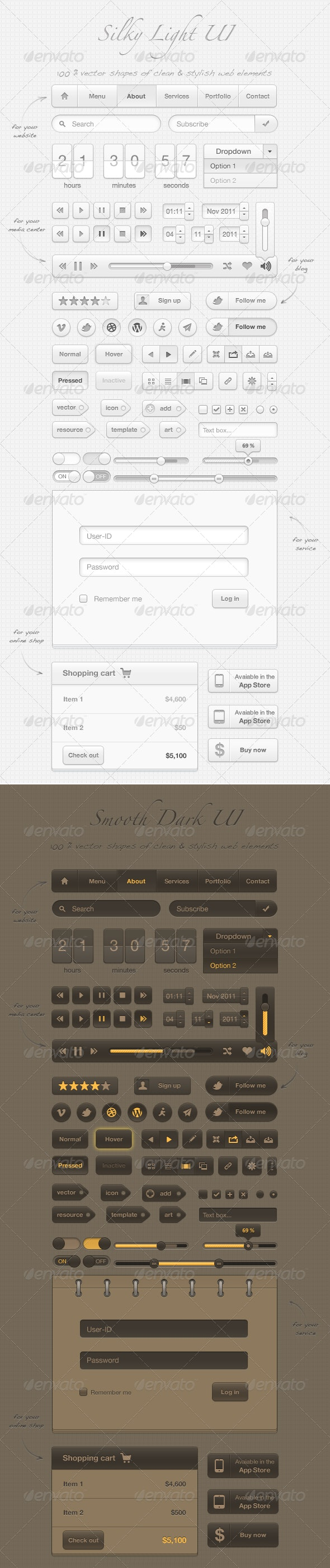 Silky User Interface (100% vector arts) - User Interfaces Web Elements