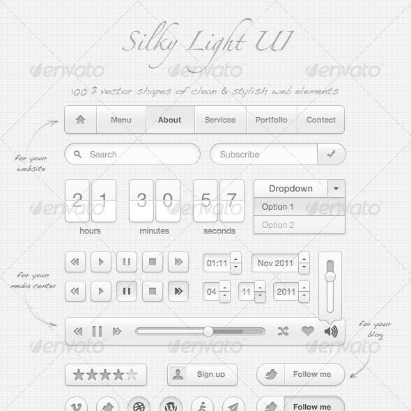 Silky User Interface (100% vector arts)