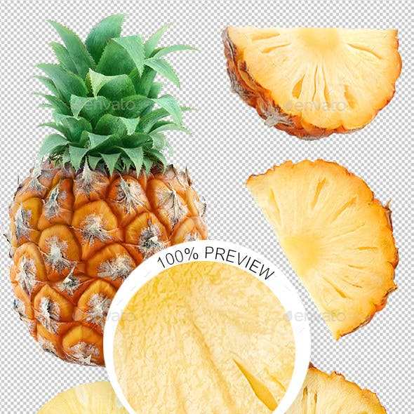 Collection of Isolated Pineapple Pieces