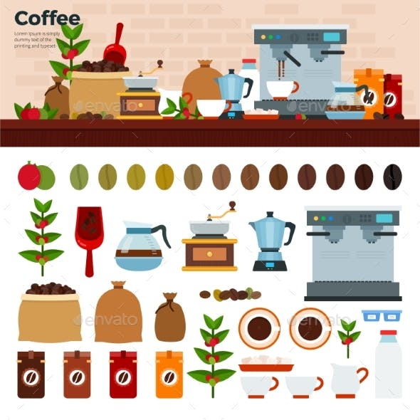 Coffee Shop with Different Kinds of Coffee