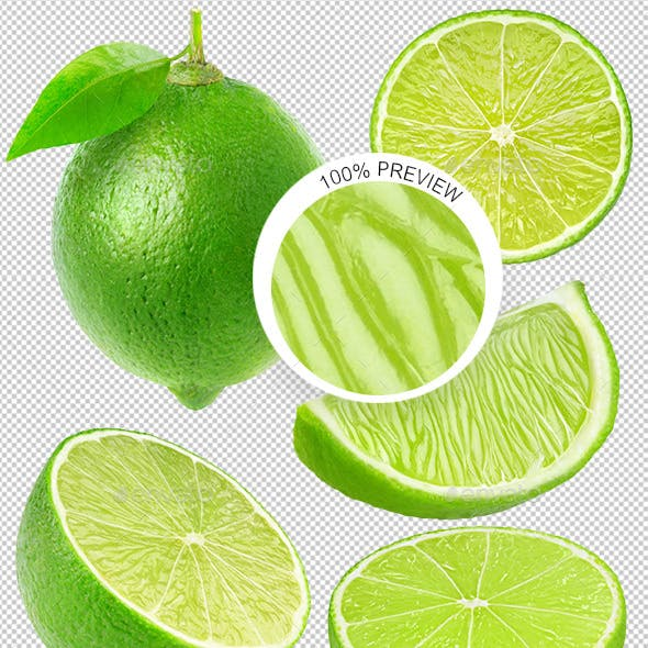 Collection of Isolated Lime Pieces