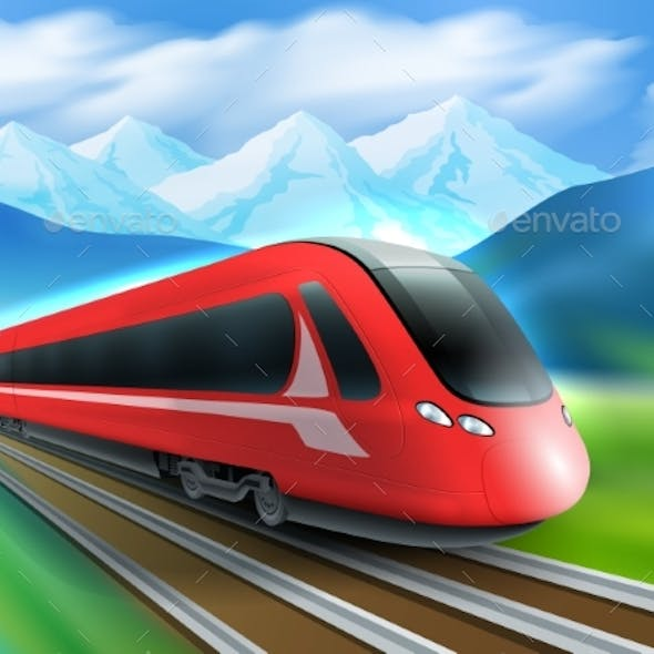 Speed Train Mountains Background Realistic Poster