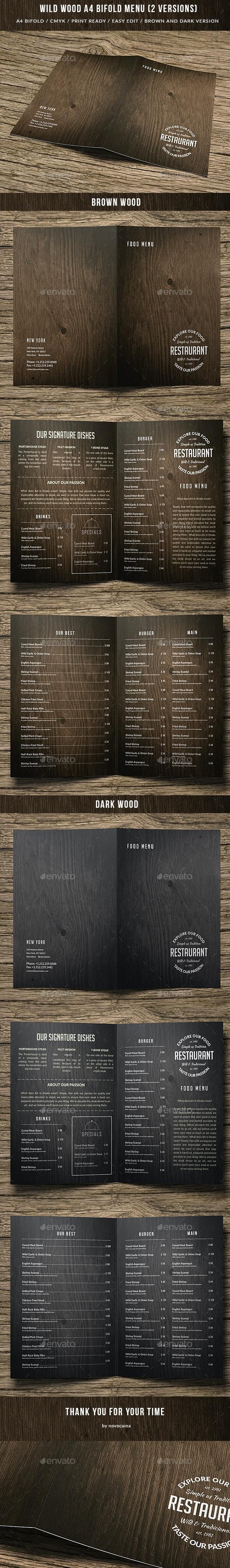 Wild Wood A4 Bifold Menu - 2 Versions - Food Menus Print Templates