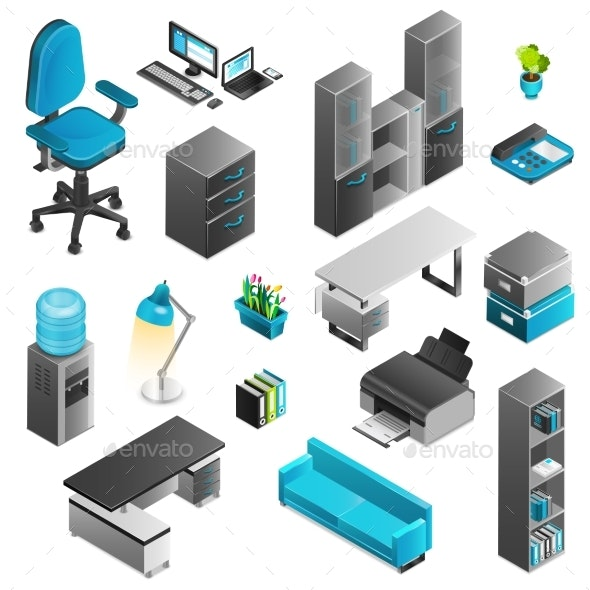 Office Interior Icons Set  - Man-made Objects Objects