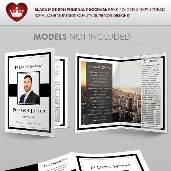 Black Modern Funeral Program