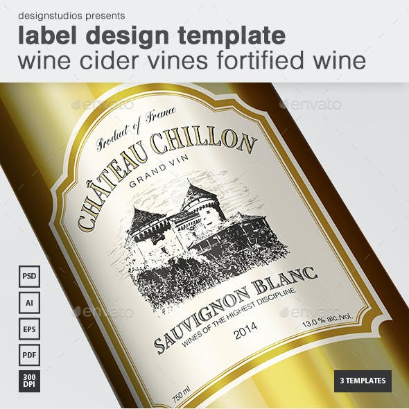 Label Design Template Wine Cider Vines Fortified Wine
