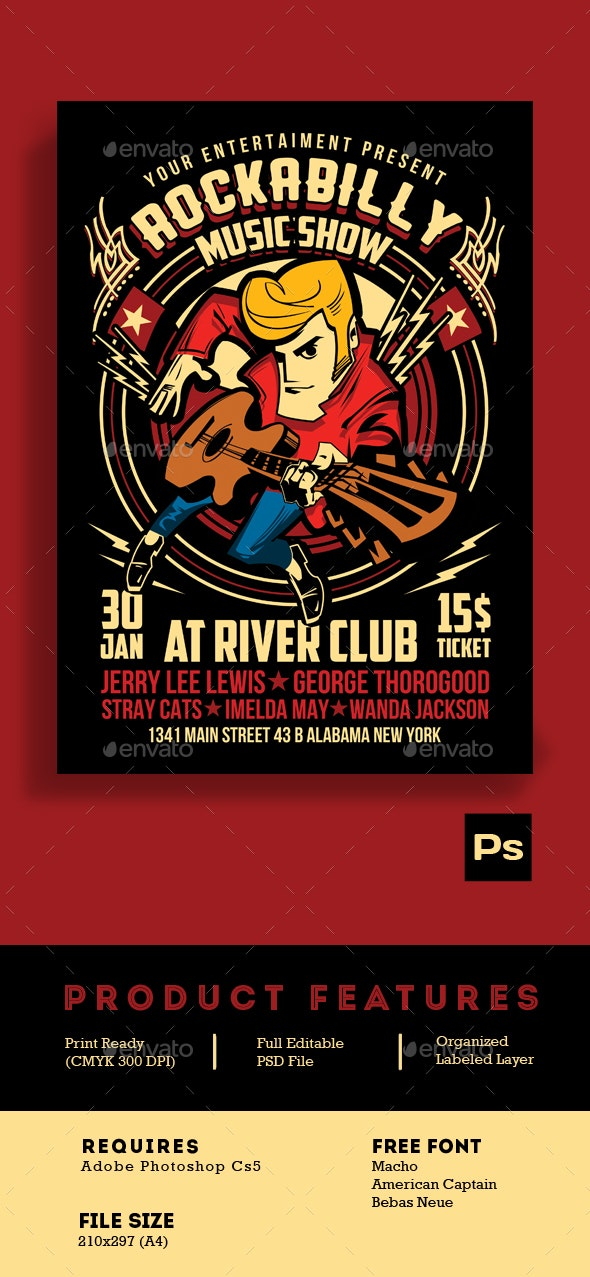 Rockabilly Music Show Poster Flyer Vol 2 - Events Flyers