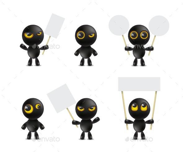 Set of Cartoon Characters Emoticon - Miscellaneous Characters