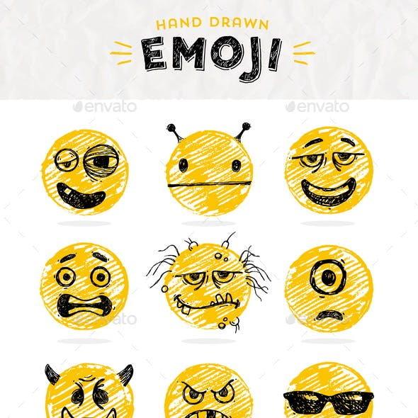 Hand Drawn Set of Emoticons