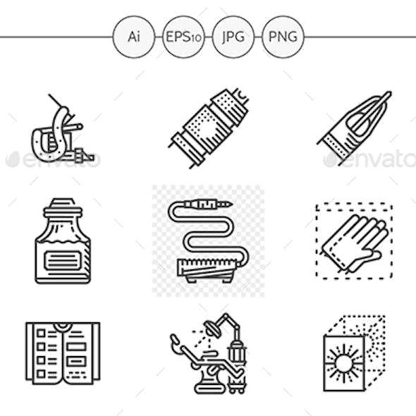 Black flat line vector icons for tattoo parlor