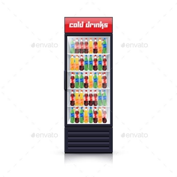 Cola Fridge Dispenser Realistic Illustration Icon