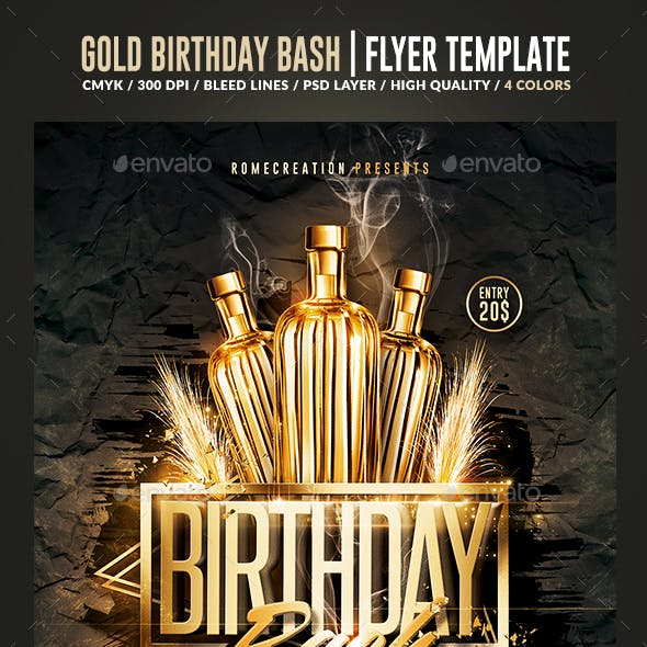 Gold Birthday Bash | Psd Flyer Template