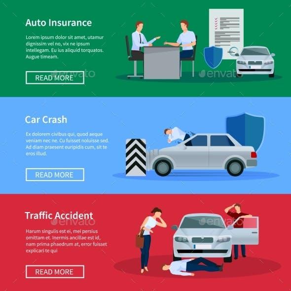 Auto Insurance Horizontal Banner Set