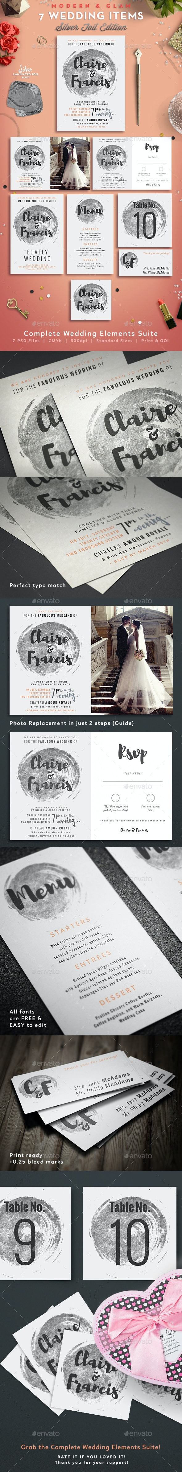 7 Silver Hot Foil Items - Wedding Pack - Weddings Cards & Invites