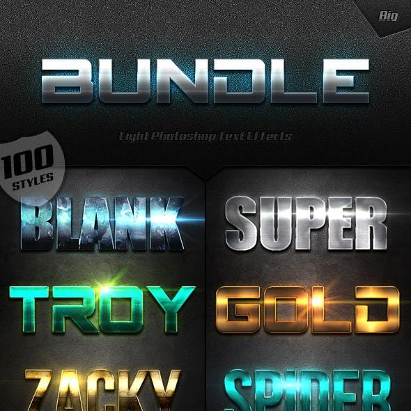 Extra Light Text Effects Big Bundle