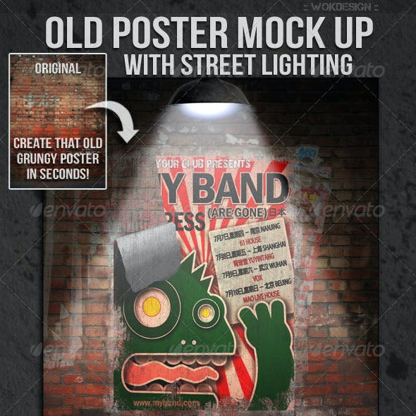 Old Poster Mock Up with Street Lighting