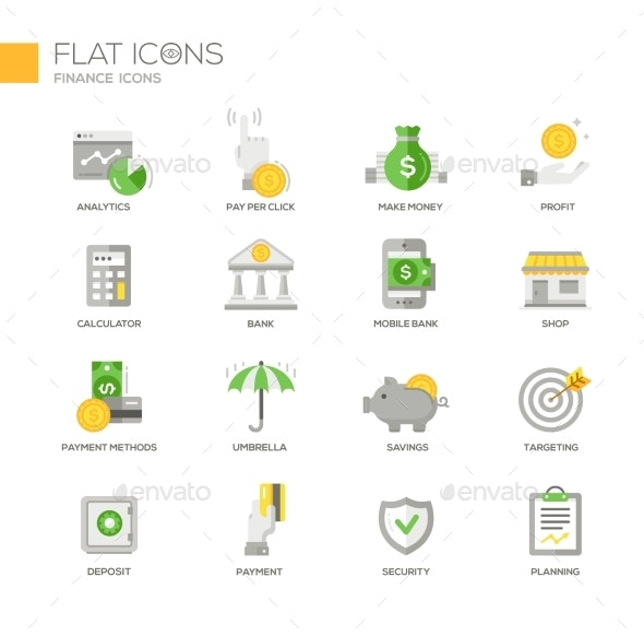 Modern Office And Business Line Flat Design Icons - Business Icons