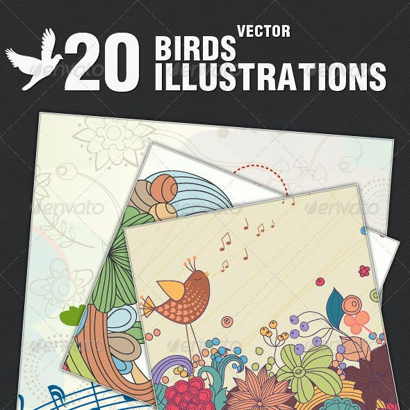 20 Vector Illustrations With Birds
