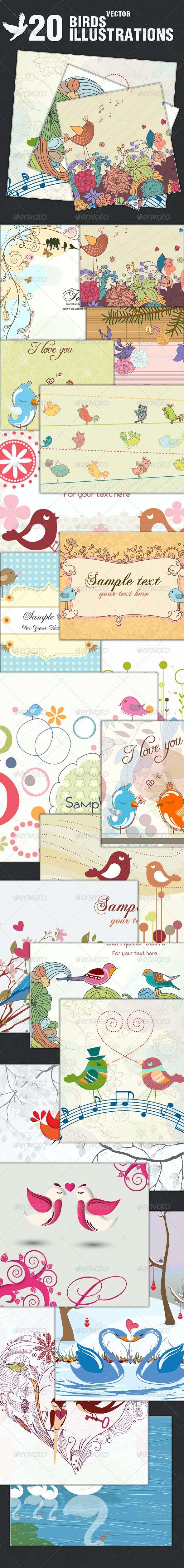20 Vector Illustrations With Birds - Backgrounds Decorative