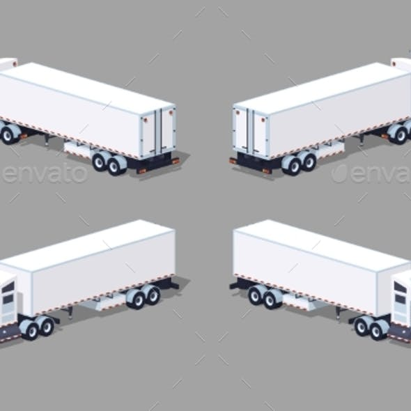Low Poly Heavy American White Truck