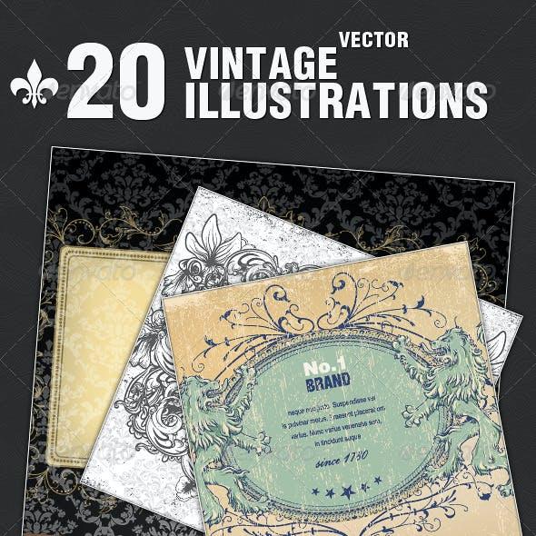 20 Vintage Frames Illustrations