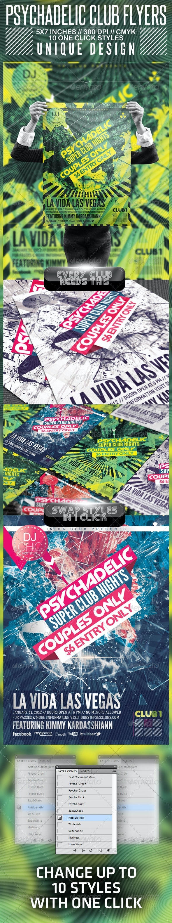 Psychedelic Club Flyer   - Clubs & Parties Events
