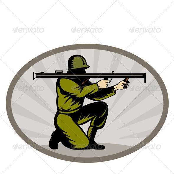 American World War Two Soldier Bazooka