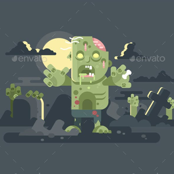 Zombies in Cemetery Night