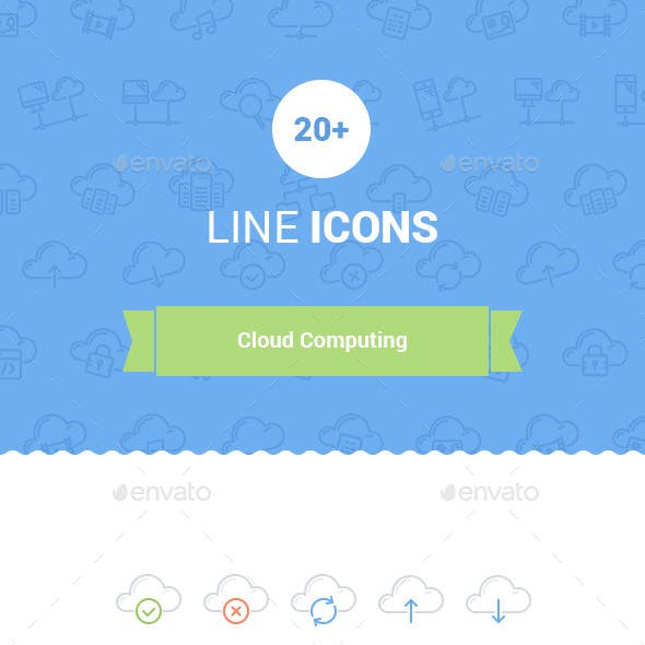 20+ Cloud Computing Line Icons