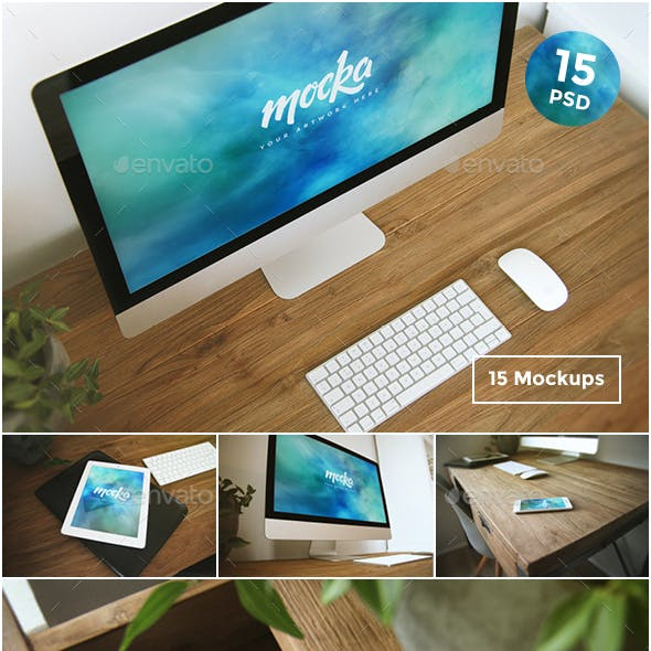 15 Desktop, Tablet & Phone Mockups