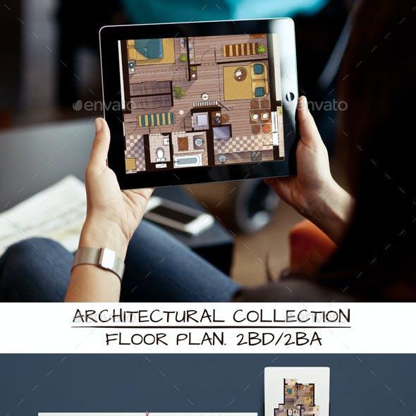 Architectural Sketch Color Floor Plan