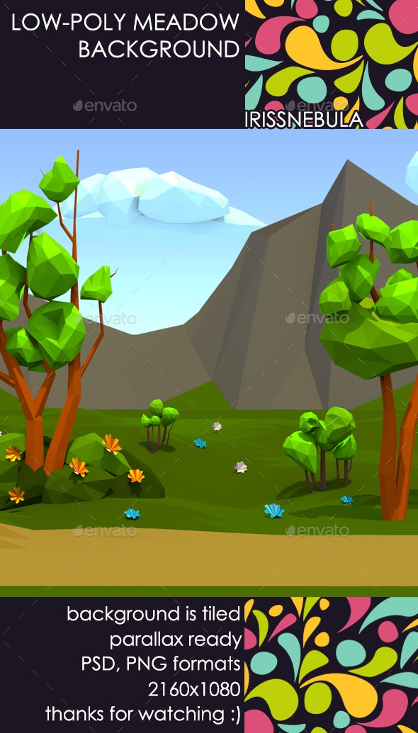 Low-Poly Meadow Background