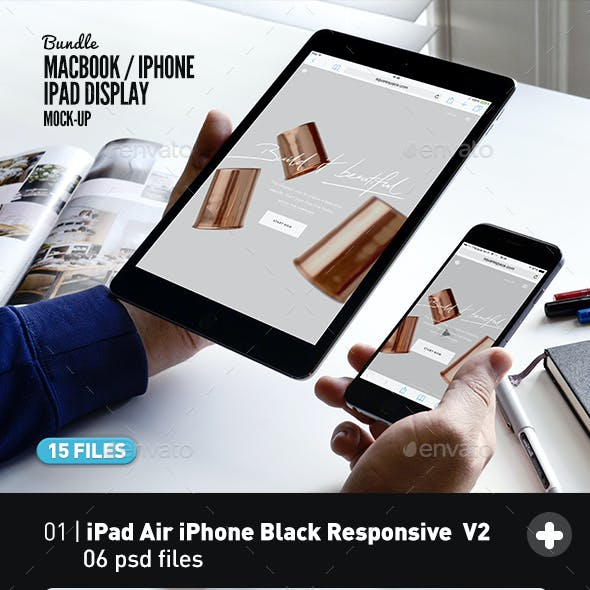 iPad iPhone Macbook Display MockUp Bundle All-in-One