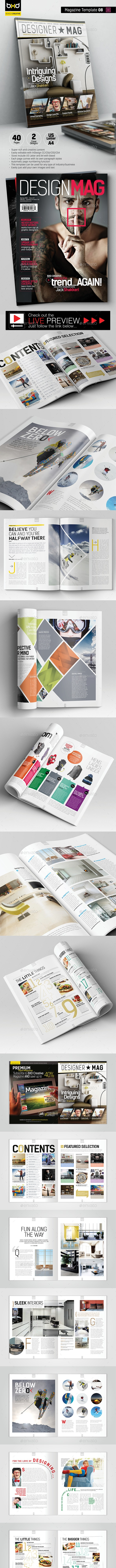 Magazine Template - InDesign 40 Page Layout V8 - Magazines Print Templates