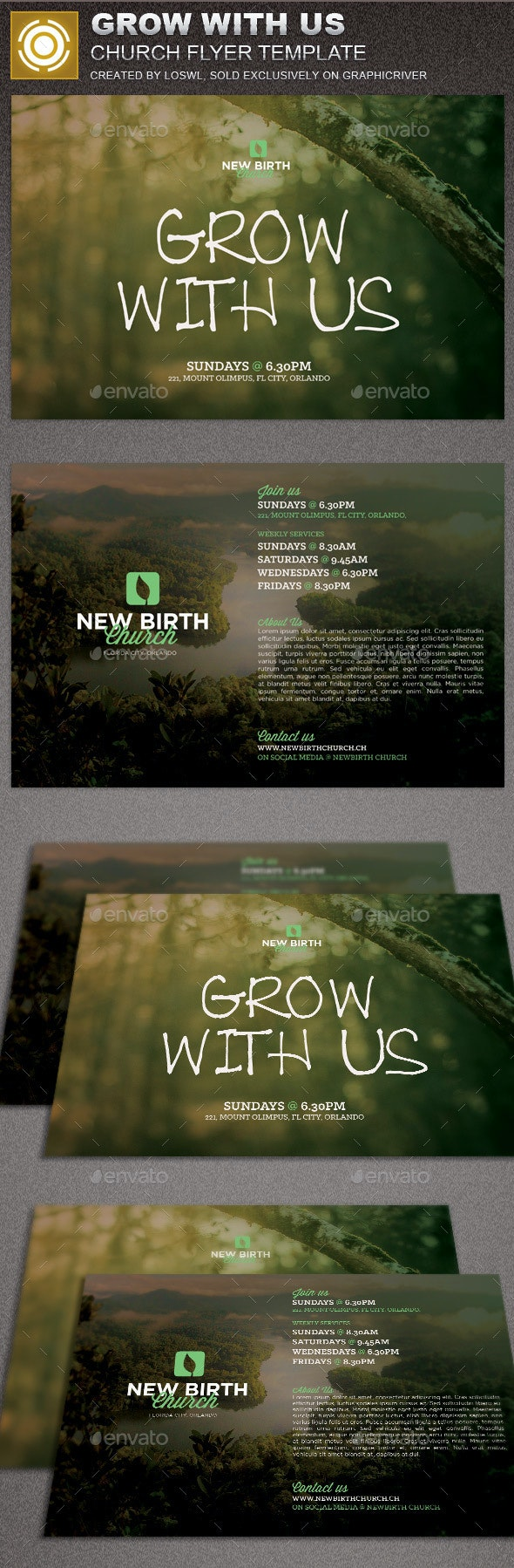 Grow With Us Church Flyer Template - Flyers Print Templates