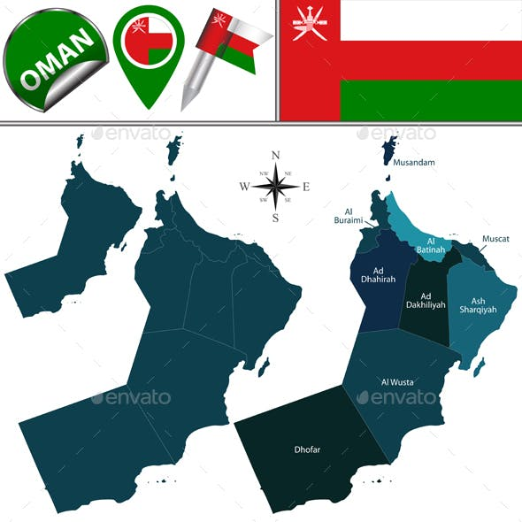 Map of Oman with Named Governorates