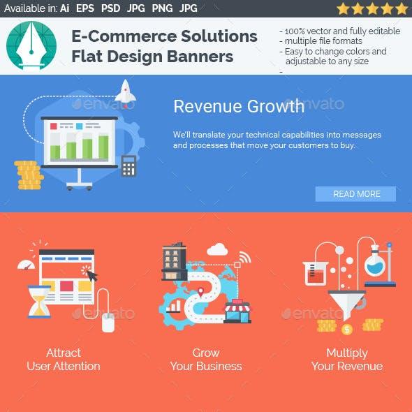 E-Commerce Solutions - Flat Design Banners