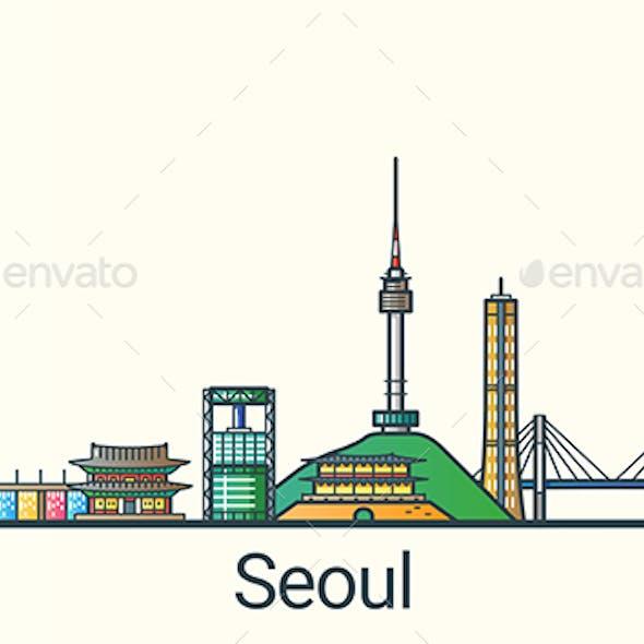 Line Flat Seoul Banner
